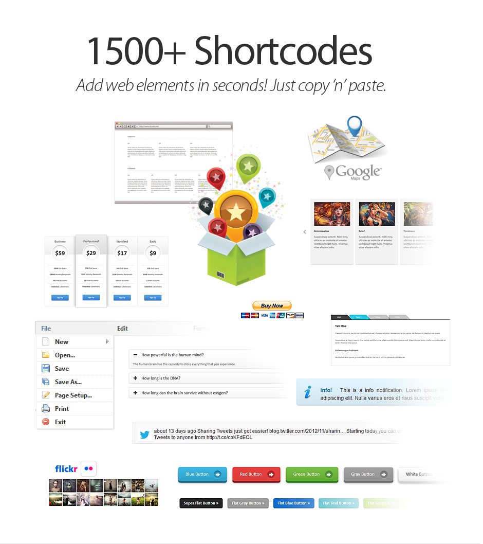 1500 HTML / CSS Shortcodes